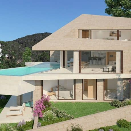 New built modern villas for sale in Cala Moli, Ibiza.