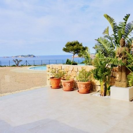 Beautiful 3 bedroom frontline townhouse for sale in Cala Tarida, Ibiza.