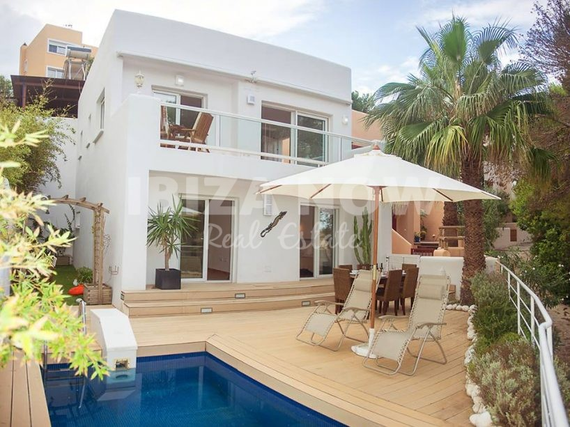 Charming first sea line house for sale in Cala Vadella, Ibiza.