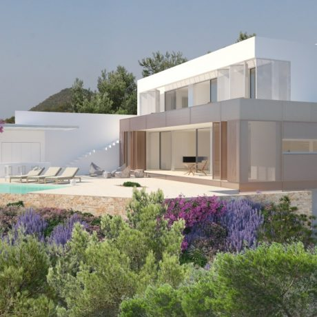 New built 5 bedroom modern villa for sale in Cala Salada, Ibiza.