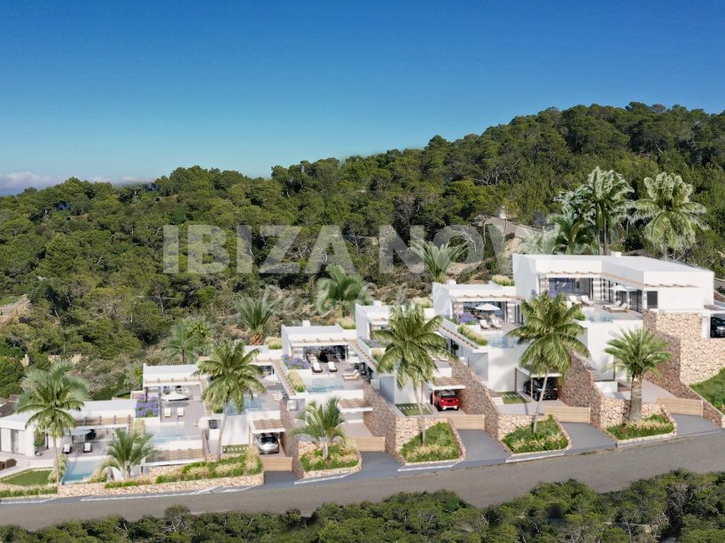 7 Luxury villas for sale with private pools and sunset views in Cala Carbo, Ibiza.