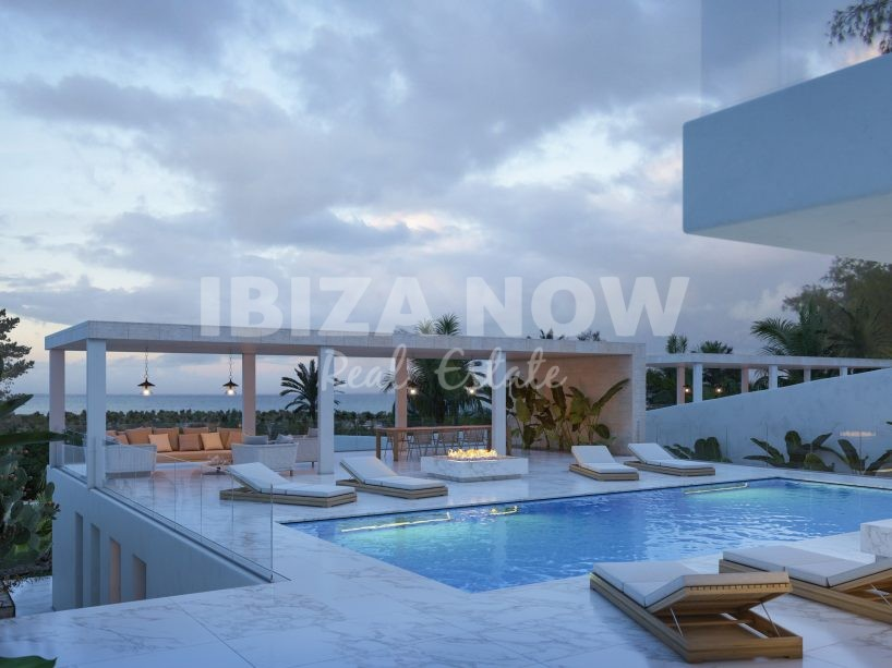 Sea view plots for sale with the project to build 2 villas in Talamanca, Ibiza