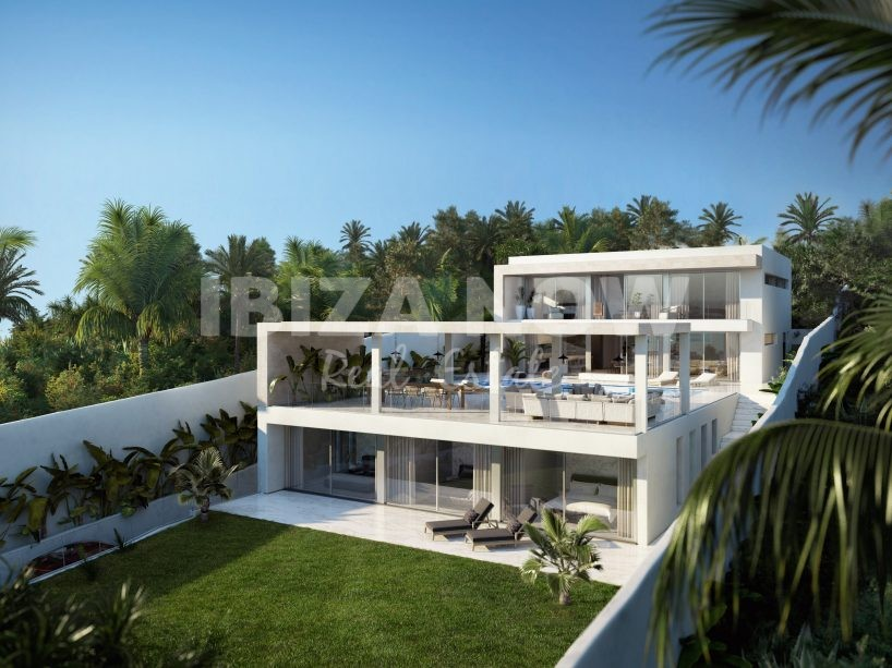 Sea view plots for sale with the project to build 2 villas in Talamanca, Ibiza.