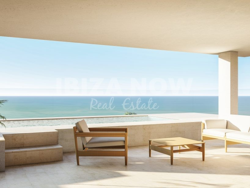 Beautiful beach apartment for sale with a private pool in San Carlos, Ibiza