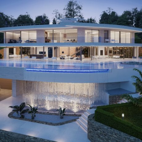 New to build 8 bedroom modern villa for sale in the private urbanization of Vista Alegre, Ibiza, Spain.